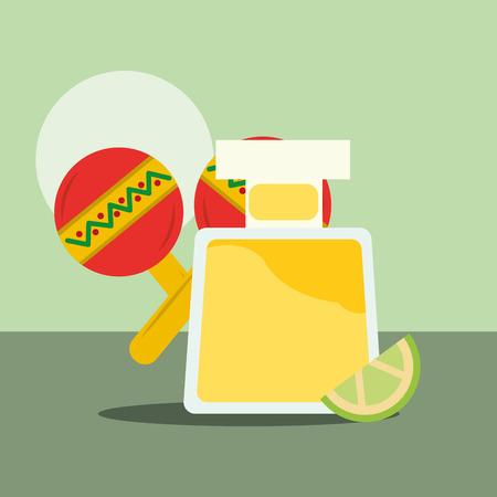 viva mexico viering rammelaar fles met citroen likeur vectorillustratie