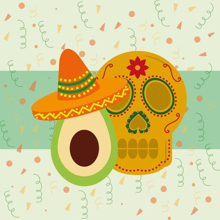 viva mexico celebration beatiful dead skull avocado with traditional hat vector illustration Illustration