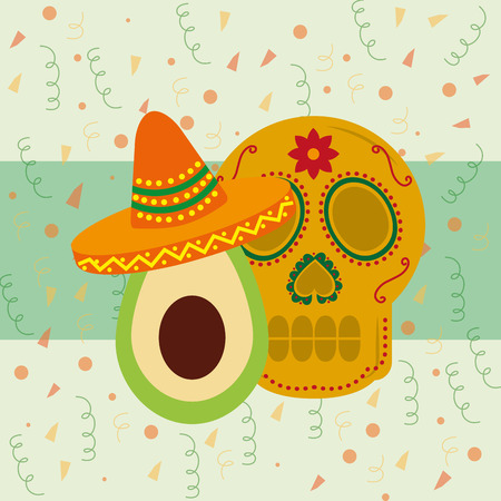 viva mexico celebration beatiful dead skull avocado with traditional hat vector illustration Stock Vector - 102262151