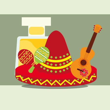 viva messico celebrazione bottiglia liquore limone rosso tradizionale cappello chitarra sonagli illustrazione vettoriale