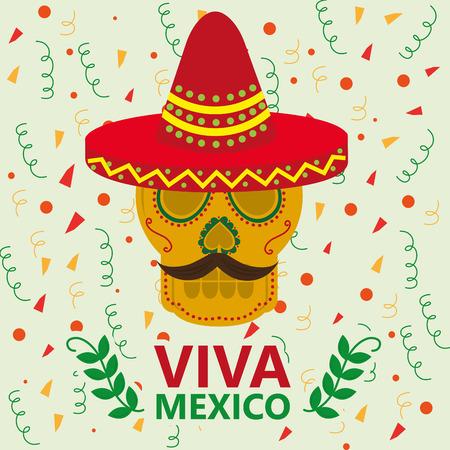 viva mexico celebration dead da skull with red hat moustache serpentines vector illustration