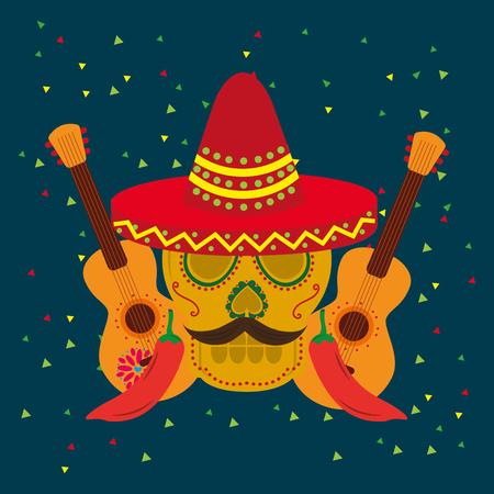 viva mexico viering twee gitaren schedel snor rode hoed gitaar chilipepers vector illustratie