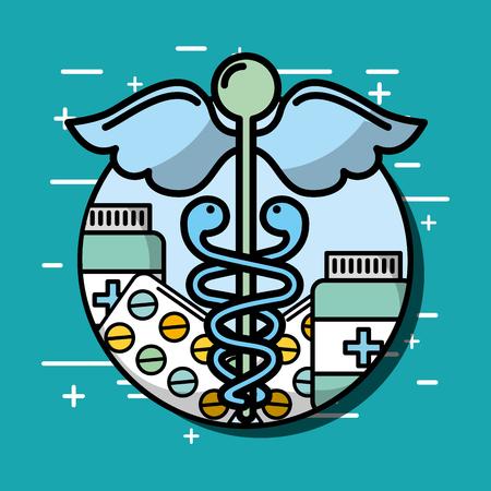 caduceus bottle medication mental health care vector illustration