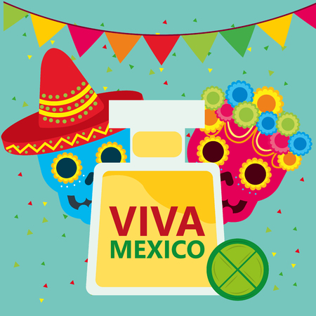 viva mexico celebration tequila lemon skulls pennant decoration vector illustration Ilustrace