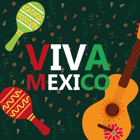 viva mexico celebration musical guitar maracas confetti decoration vector illustration