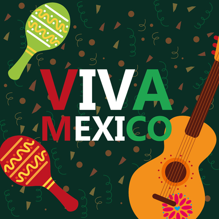 viva mexico celebration musical guitar maracas confetti decoration vector illustration