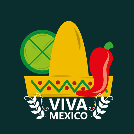 viva mexico celebration traditional hat chili pepper and lemon vector illustration