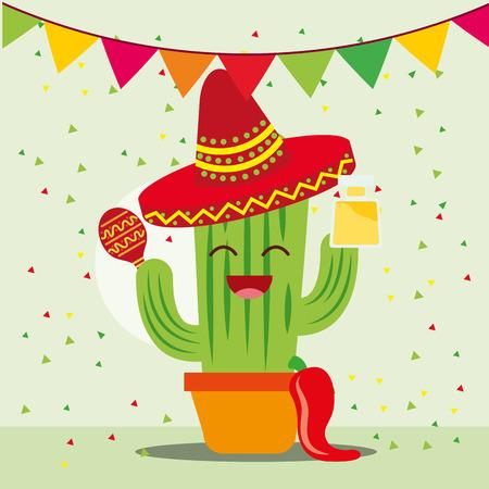 viva mexico celebration cartoon cactus with hat and maracas vector illustration