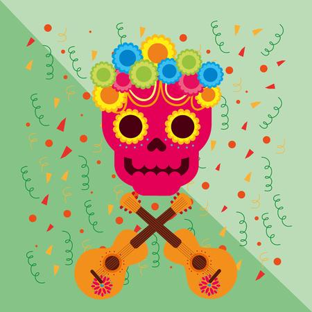 viva mexico celebration pink skull guitar and flowers vector illustration