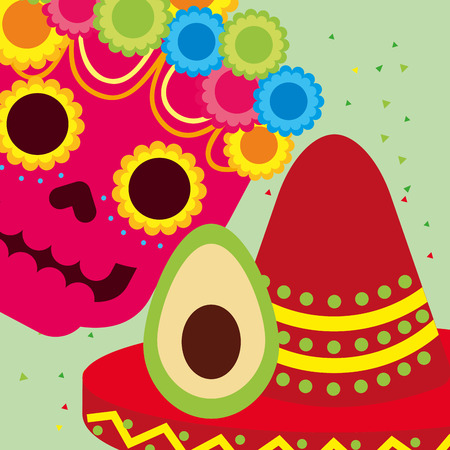 viva mexico celebration skull flowers avocado and hat vector illustration