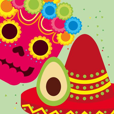 viva mexico celebration skull flowers avocado and hat vector illustration
