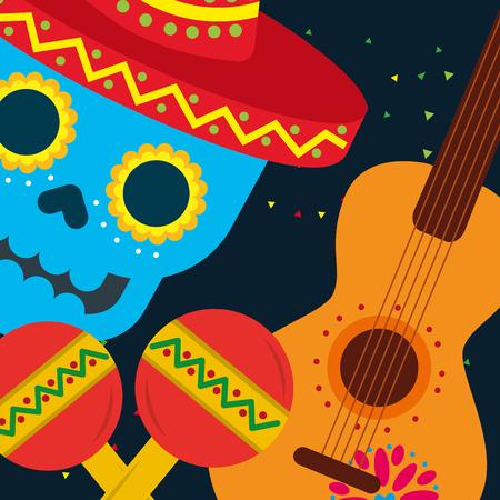 viva mexico celebration skull musical guitar maracas vector illustration