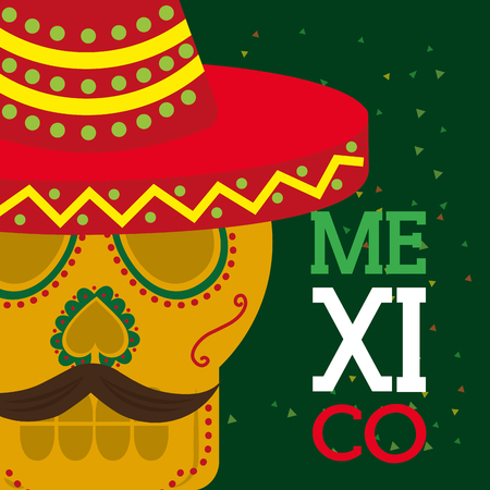 viva mexico celebration traditional skull with hat and mustache vector illustration