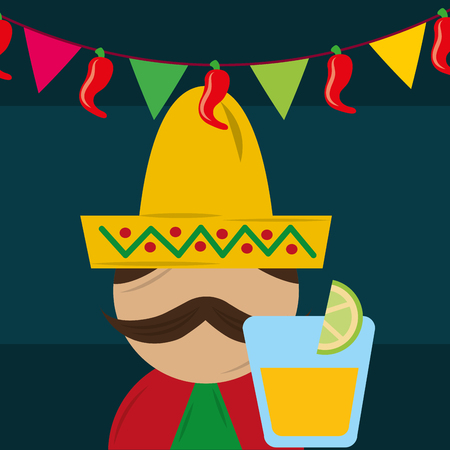 mexican man with hat poncho and tequila drink vector illustration Illustration