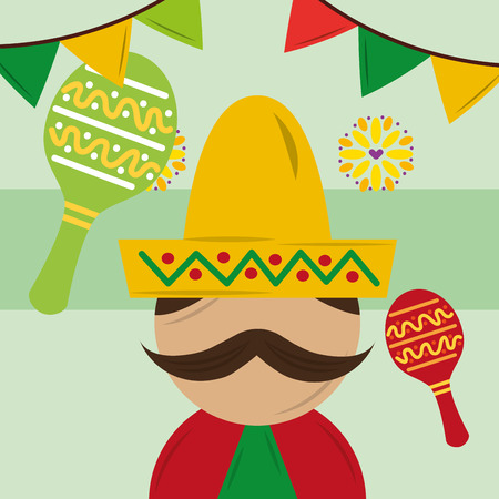 mexican man with hat poncho and maracas musical flowers pennant decoration vector illustration