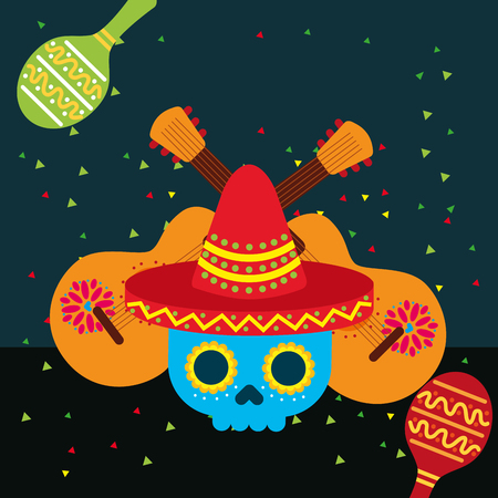 viva mexico blue skull with hat and guitars maracas vector illustration