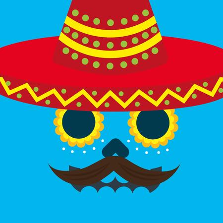 viva mexico celebration blue background skull mustache and hat vector illustration Illustration