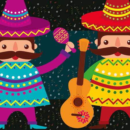 mexican men with hat and poncho maracas guitar vector illustration Illustration