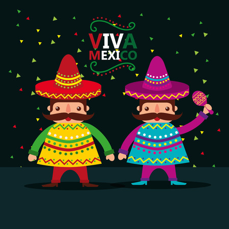 mexican men with hat and poncho viva mexico party national vector illustration Illustration
