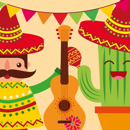 mexican man and cartoon cactus guitar celebrating vector illustration