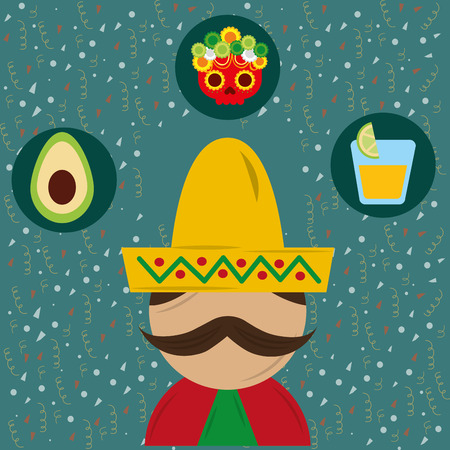 portrait mexican man with hat and poncho vector illustration