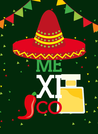 red hat and tequila drink chili pepper pennant viva mexico vector illustration