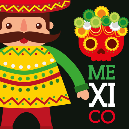mexican man with hat and poncho skull flowers mexico symbol vector illustration