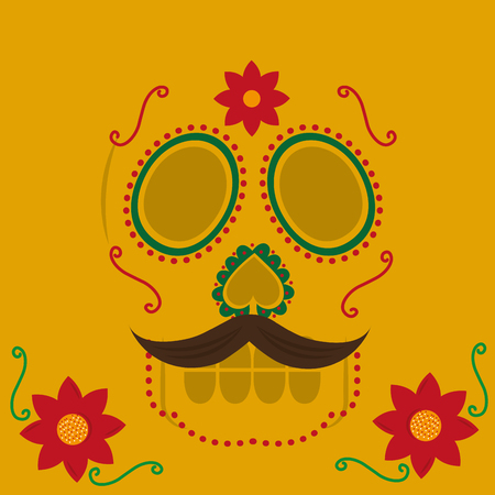 viva mexico celebration floral skull with mustache yellow background vector illustration