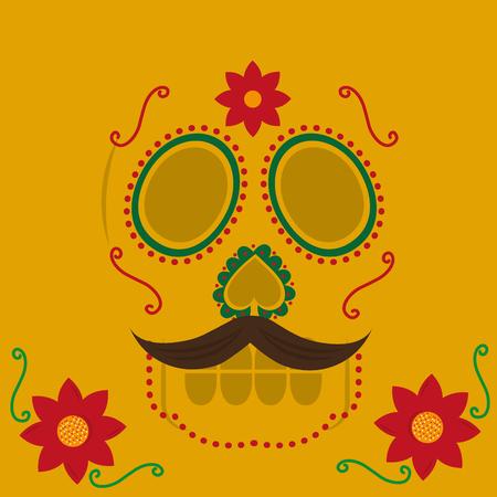 viva mexico celebration floral skull with mustache yellow background vector illustration Archivio Fotografico - 102262321