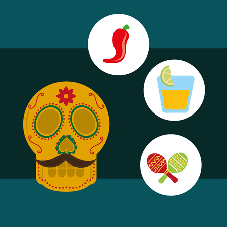 viva mexico celebration skull with mustache chili pepper tequila and maracas vector illustration