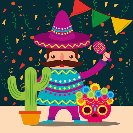 mexican man with hat and poncho cactus skull decoration confetti vector illustration