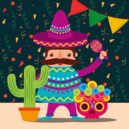 mexicain, homme, à, chapeau, et, poncho, cactus, crâne, décoration, confettis, vecteur, illustration Vecteurs
