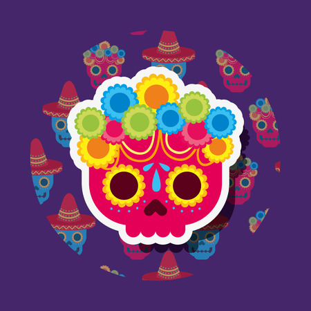 red skull with flowers viva mexico vector illustration