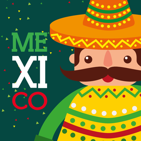 mexican man with hat and poncho viva mexico card vector illustration Illustration