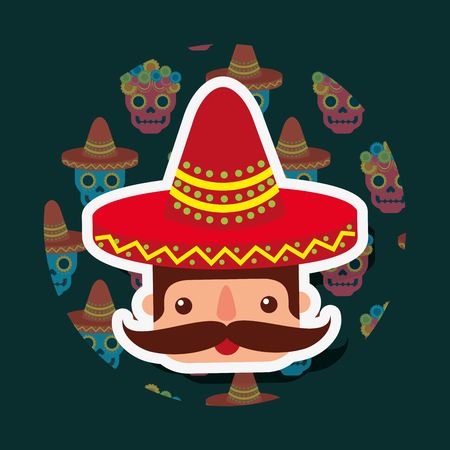 mexican man portrait with mustache and red huge hat vector illustration
