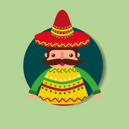 mexican man mustache with hat and poncho vector illustration