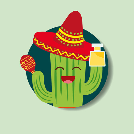 cartoon cactus with hat and tequila drink viva mexico vector illustration