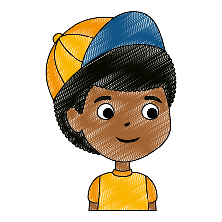 little boy black character vector illustration design