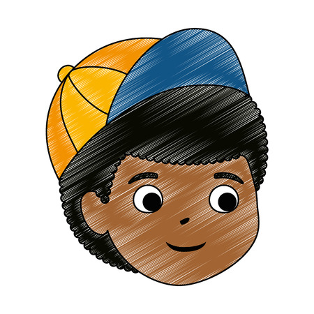 little boy black head character vector illustration design