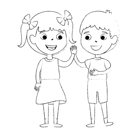 little kids couple characters vector illustration design Çizim