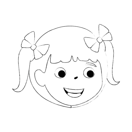 little girl daughter head character vector illustration design