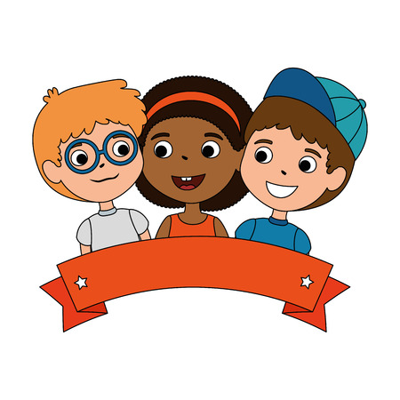 children of different ethnic groups vector illustration design Stock Illustratie