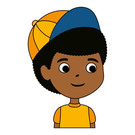 little boy black character vector illustration design