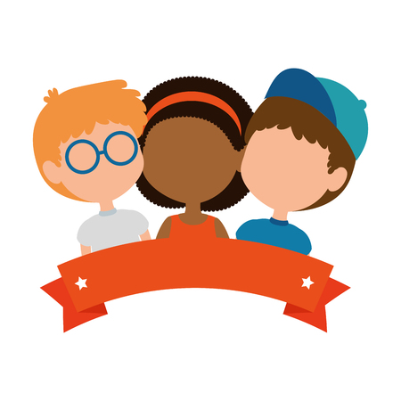 children of different ethnic groups vector illustration design