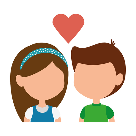 little kids couple with heart characters vector illustration design