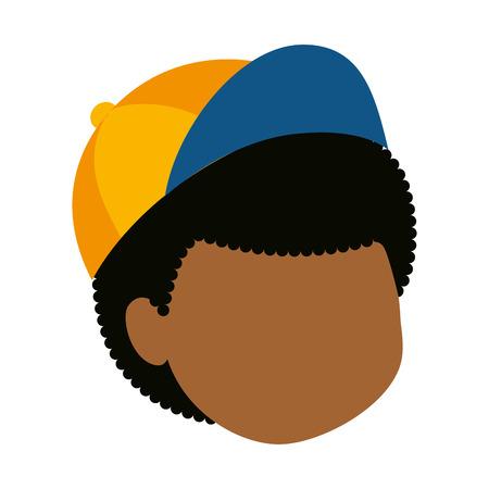 little boy black head character vector illustration design
