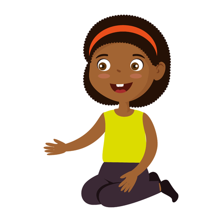 little girl black character vector illustration design Illustration