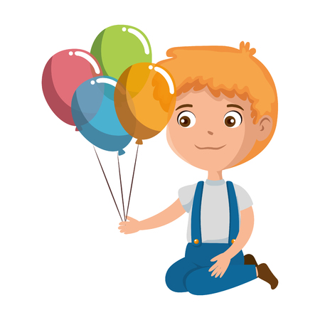 little boy with balloons helium character vector illustration design
