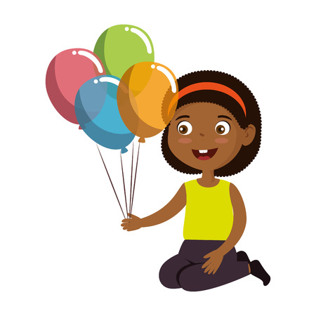 little girl black with balloons helium character vector illustration design Illustration