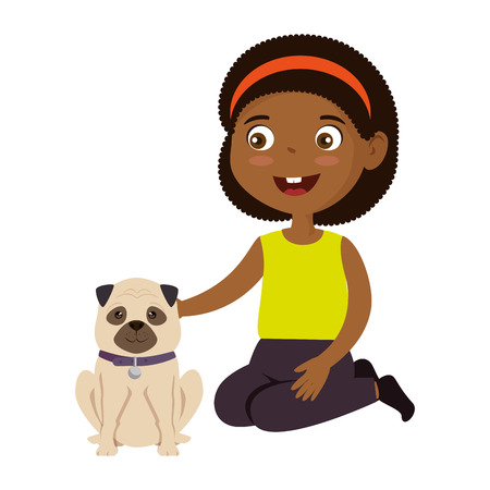 little girl black with dog character vector illustration design